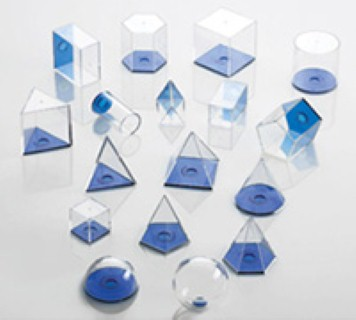 GEO VOLUME SET (Clear Plastic, 5cms, 17 pcs. with lid).